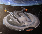 Starship Painting Prints - Starship Enterprise Print by Rita Tortorelli