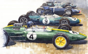 Hill Painting Framed Prints - Start British GP 1963 - Lotus  Brabham  BRM  Brabham Framed Print by Yuriy  Shevchuk