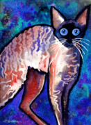 Pet Portraits Drawings Prints - Startled Cornish Rex Cat Print by Svetlana Novikova