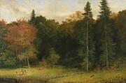 Woods Paintings - Startled Foresters by Richard Redgrave