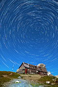 Startrails Photo Prints - Startrails above Omu Hut Print by Catalin Pomeanu