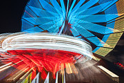 Lighted Park Prints - State Fair Rides at Night II Print by Clarence Holmes