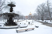 Boston Ma Framed Prints - State House Snow Framed Print by Dominic Stringer