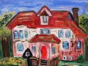 Outsider Art Paintings - Stately City House by Mary Carol Williams