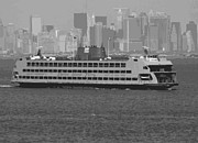 In-city Digital Art Framed Prints - Staten Island Ferry BW16 Framed Print by Scott Kelley