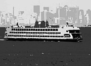 Staten Island Ferry In New York Prints - Staten Island Ferry BW3 Print by Scott Kelley