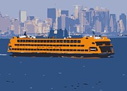 Nyc Digital Art Metal Prints - Staten Island Ferry Color 16 Metal Print by Scott Kelley