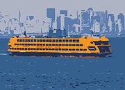 Nyc Digital Art Metal Prints - Staten Island Ferry Color 6 Metal Print by Scott Kelley