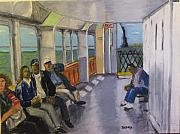 Liberty Paintings - Staten Island Ferry-Manhattan Bound by Natey Freedman