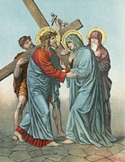 Bible Story Prints - Station IV Jesus Carrying the Cross Meets his most Afflicted Mother Print by English School