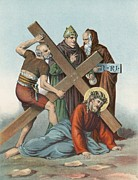 Catholic Paintings - Station IX Jesus Falls under the Cross the Third Time by English School