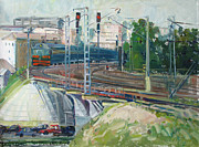 Moscow Painting Posters - Station near to Moscow Poster by Juliya Zhukova