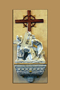Statue Portrait Digital Art Prints - Station of the Cross 03 Print by Thomas Woolworth