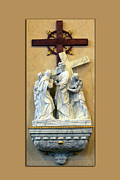 Statue Portrait Digital Art Prints - Station of the Cross 04 Print by Thomas Woolworth