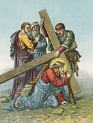 Catholic Posters - Station VII Jesus Falls under the Cross the Second Time Poster by English School