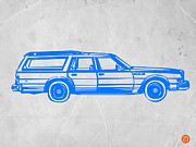Vintage Car Drawings - Station Wagon by Irina  March