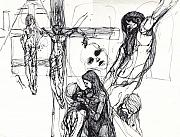 Christ Drawings - Stations Of The Cross Study Drawings by Jessica Lynn Stuart