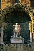 Europe Photo Prints - Statue de lempereur Auguste dans le theatre dOrange. Print by Bernard Jaubert