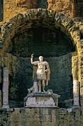 Statue De L'empereur Auguste Dans Le Theatre D'orange. Print by Bernard Jaubert
