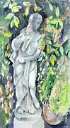 Foliage Paintings - Statue In The Garden by Arline Wagner