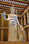 Blue Sheild Posters - Statue of Athena and Nike Poster by Linda Phelps