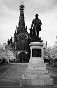 Livingstone Metal Prints - Statue Of David Livingstone Outside Glasgow Cathedral Scotland Uk Metal Print by Joe Fox