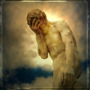Depressed Metal Prints - Statue of human covering face Metal Print by Bernard Jaubert