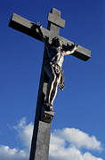 Jesus Christ Icon Photo Framed Prints - Statue of Jesus Christ on the cross Framed Print by Sami Sarkis