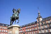 Historic Statue Framed Prints - Statue of King Philip III at Plaza Mayor Framed Print by Artur Bogacki