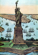 By Currier And Ives Prints - Statue Of Liberty, 1884 Print by Photo Researchers