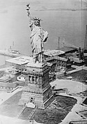 Libertas Posters - Statue of Liberty Aerial View 1920 Poster by Padre Art