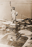 Libertas Posters - Statue of Liberty Aerial View 1920 Sepia Poster by Padre Art