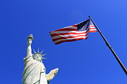 Americana - Statue of Liberty and American Flag by Frank Romeo