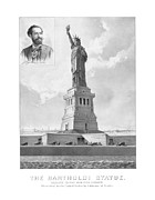 Lady Liberty Mixed Media Prints - Statue of Liberty And Bartholdi Portrait Print by War Is Hell Store