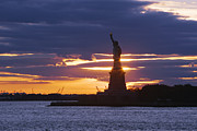 Staten Island Ferry Framed Prints - Statue of Liberty at Sunset Framed Print by Jeremy Woodhouse