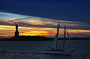 York Beach Prints - Statue of Liberty at Sunset Print by Nishanth Gopinathan