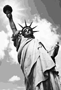 The Capital Of The World Posters - Statue of Liberty BW16 Poster by Scott Kelley