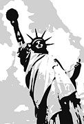 The Capital Of The World Posters - Statue of Liberty BW3 Poster by Scott Kelley