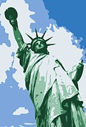 The Capital Of The World Digital Art Posters - Statue of Liberty Color 6 Poster by Scott Kelley