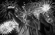 The Capital Of The World Digital Art Posters - Statue of Liberty Fireworks BW16 Poster by Scott Kelley