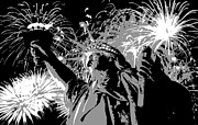 The Capital Of The World Digital Art Posters - Statue of Liberty Fireworks BW3 Poster by Scott Kelley