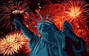 The Capital Of The World Prints - Statue of Liberty Fireworks Color 16 Print by Scott Kelley