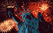 The Capital Of The World Digital Art Posters - Statue of Liberty Fireworks Color 6 Poster by Scott Kelley
