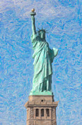 United States National Register Of Historic Places Photos - Statue of Liberty Impasto by Clarence Holmes