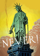 Statue Of Liberty Digital Art Prints - Statue Of Liberty In Chains Print by War Is Hell Store