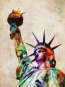 Cities Digital Art Metal Prints - Statue of Liberty Metal Print by Michael Tompsett