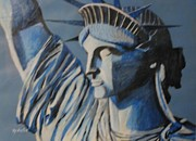 Statue Portrait Paintings - Statue of liberty by Nedunseralathan R