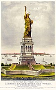 New York City Drawings Framed Prints - Statue Of Liberty Framed Print by Pg Reproductions