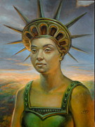 Statue Portrait Painting Prints - Statue of Liberty Still Alive Print by Jiri Mesicki