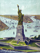 1880s Prints - Statue Of Liberty. The Great Bartholdi Print by Everett